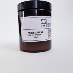 Image of Amber and Musk Scented Candle