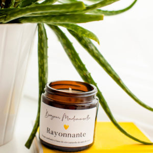 Rayonnante Scented Candle sitting on a yellow book with a white plant pot beside it
