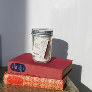 Rosehip Candle by Field Day sitting on two red books