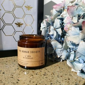 Bohemian Candle from Nomad Society with notes of honeysuckle and jasmine