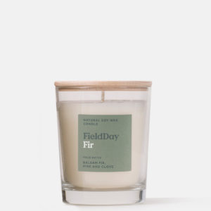Fir Candle with green label and birchwood lid